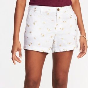 Old Navy White Linen Gold Foil Palm Tree Shorts